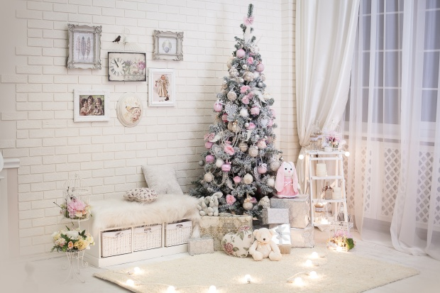 Christmas room in shabby chic style. Decorated tree near window.